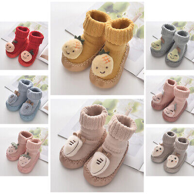 Baby Floor Socks Shoes Toddler Non-slip Slipper Cartoon Walking Boots With Bells • 9.01£