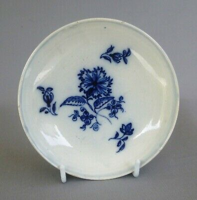 Pearlware Blue Painted Saucer, Attractive Design,  C1780/90. Excellent Condition • 22£