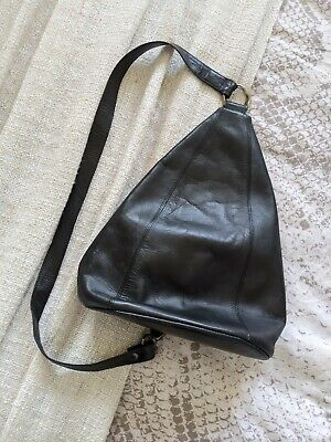 Vintage Jane Shilton Black Leather One Strap Rucksack Backpack Bag • 0.99£