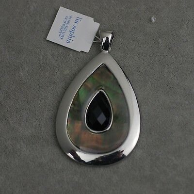 $ CDN8.03 • Buy Lia Sophia Signed Jewelry Silver Plated Black Acrylic Shell Necklace Pendant