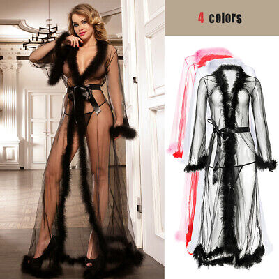 Women Sexy Feather Nightgown Sleepwear See-through Dress Lingerie Robe BathrobeA • 12.88£