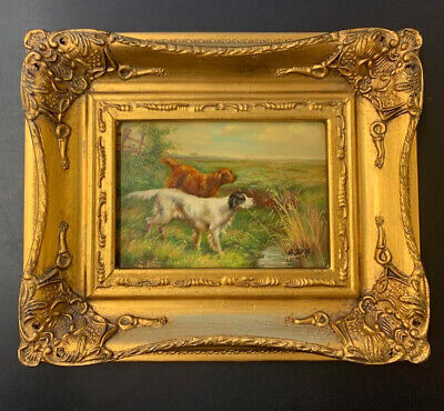 Good 19th Century Oil Painting Of Gun Dogs Hunting By G Roy Listed Artist • 124.95£