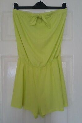 Papaya Ladies Lime Yellow Strapless Bandeau Boobtube Shorts Playsuit  Size 10 • 1.99£