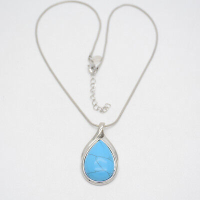 $ CDN10.53 • Buy Lia Sophia Jewelry Silver Plated Teardrop Slide Pendant Turquoise Necklace Chain