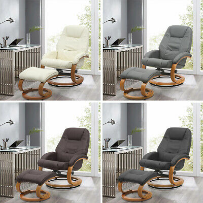 Padded Leather Swivel Recliner Armchair Accent Sofa TV Chair Living Room W/Stool • 190.95£