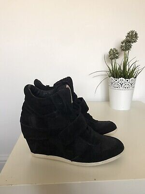 Ash Bowie Wedge High Top Trainers Black And White Suede Size 38 (UK 5) • 1.99£