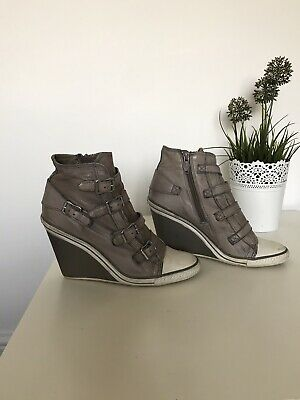 Ash Thelma Leather Buckled Wedge Trainers. EU38 Size 5 • 4.99£