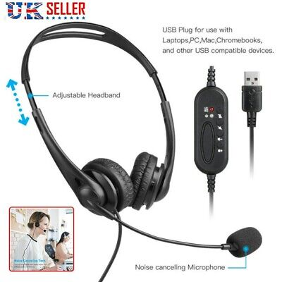 Office Wired Headset USB Telephone Call Center Operator Noise Cancelling W/Mic • 11.99£
