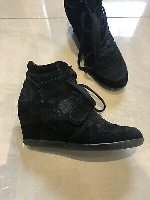 ASH Womens Black Suede Wedge High Top Sneaker Trainers Size UK 5 Eur 38 • 7.99£