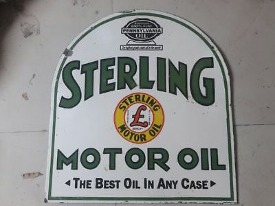 $ CDN583.14 • Buy Porcelain STERLING MOTOR OIL Sign SIZE 25  X 27  INCHES Double Sided Pre-Owned