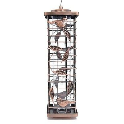 Large Hanging Metal Bird Feeder, Lovely Quality, Copper Finish. Squirrel Proof. • 34.99£