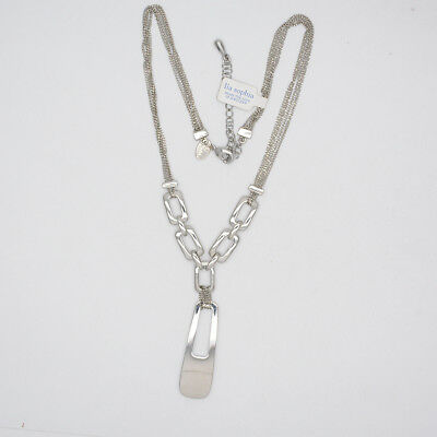 $ CDN10.71 • Buy Lia Sophia Women Jewelry Polished Silver Plated Rectangle Pendant Necklace Chain