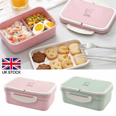 Lunch Box Food Container Bento Case W/ 3 Compartment 2 Layers Large Capacity UK • 7.80£