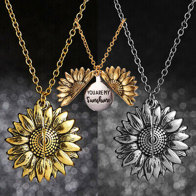 AU4 • Buy You Are My Sunshine Open Locket Sunflower Flower Long Necklace Jewellery Gift