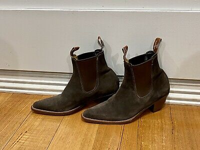 AU87.84 • Buy RM Williams Adelaide Size 6. Suede Chocolate Brown Boots Cuban Heel.As New