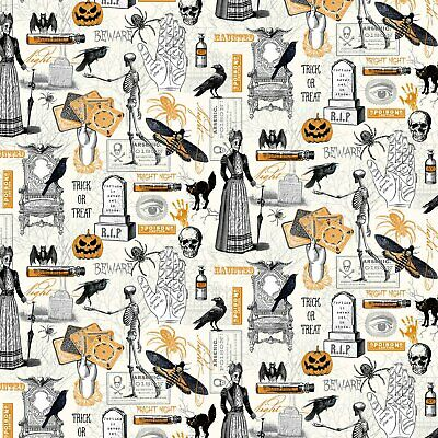 £5.25 • Buy Fat Quarter Trick Or Treat Halloween Gothic Things 100% Cotton Fabric