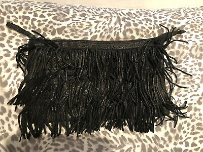 Warehouse Black Fringed Real Leather Clutch Bag • 20£