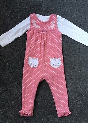 Lovely Baby Girls Pink Cat Dungarees And Top 12-18 Months 😻 • 2£