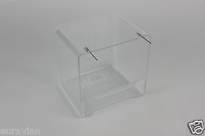 BIRD BATH PLASTIC CLEAR FINCH CANARY Wire Hooks On Cage Front/Aviary Mesh • 6.20£