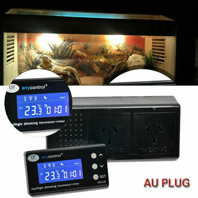 AU59.95 • Buy Dimming Reptile Digital Day & Night Thermostat With Timmer Heat PID Snake Lizard