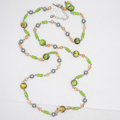 $ CDN9.21 • Buy Retired Lia Sophia Jewelry Green Beads Faux Pearl Long Necklace Chain For Women