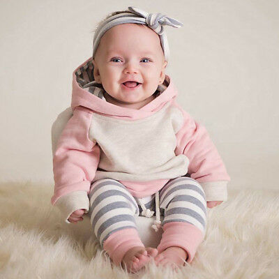 AU22.92 • Buy UK Toddler Baby Girls Winter Outfits Clothes Hoodie Tops+Pants+Headband Set MD