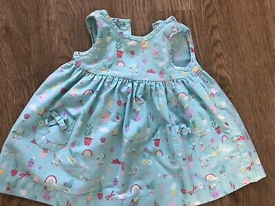 Blue Zoo Debenhams Blue Rabbit Rainbow Flower Dress Age 0-3 Months • 0.99£