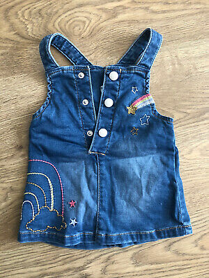 Blue Zoo Debenhams Rainbow And Unicorn Denim Pinafore Dress Age 3-6 Months • 0.99£