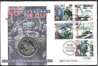 GUERNSEY, 1994, 50th ANNIVERSARY OF VE DAY, FIRST DAY COVER, PNC WITH £2 COIN. • 2.45£