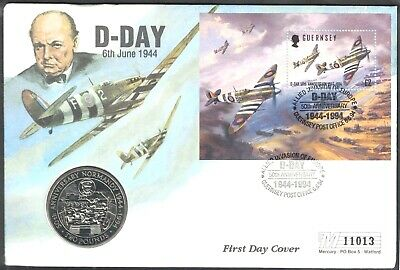 GUERNSEY, 1994, 50th ANNIVERSARY OF D DAY, FIRST DAY COVER, PNC WITH £2 COIN. • 2.20£