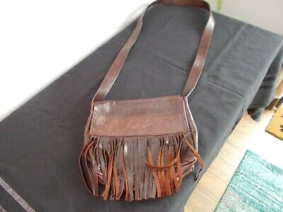 NEW Leather Fringed Shoulder Bag Made In Italy • 9£