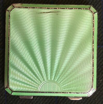 Asprey Solid Silver And Green Enamel Guilloche Art Deco Powder Compact. • 105£