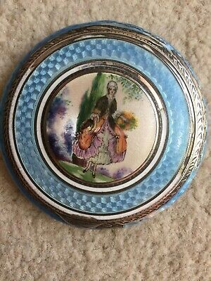 Solid Silver & Enamel Guilloche Picture Powder Compact. Enamel To Both Sides. • 85£