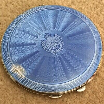 Large Guilloche Enamel & Solid Silver Royal Engineers Compact • 80£