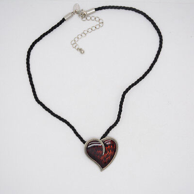 $ CDN10.53 • Buy Lia Sophia Jewelry Black Rope Chain Red Enamel Heart Pendant Silver Necklace
