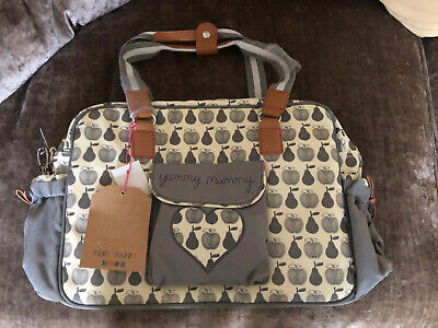 Pink Lining Yummy Mummy Changing Bag Grey Apple And Pears (originally £79.99) • 22.40£