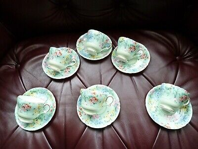 Shelley Melody Six Cups And Saucers. • 115£