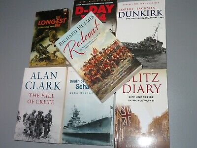 Seven Military History Books, Mainly Wwii. Dunkirk, D-day, Crete, Paperback. • 6.99£