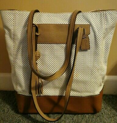 Womens Handbags Clarks Brown Leather White Tote Hobo Bag Casual Top • 10£