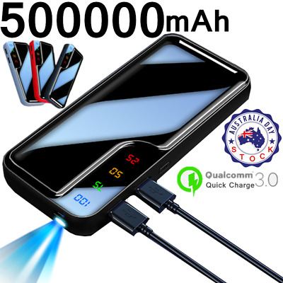 AU23.99 • Buy 500000mAh Portable Charger Power Bank With LCD&LED 2 USB External Phone Battery