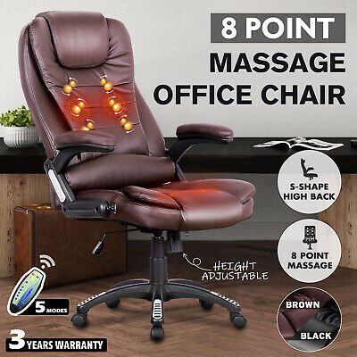 AU179.90 • Buy 8 Point Heated Massage PU Chair Executive Office Computer Seat Black/Brown