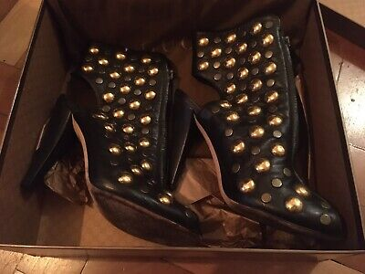Authentic Gucci Black Leather Babouska Studded Peep-Toe Zip Ankle Boots 39/6UK • 75£
