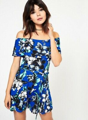 BNWT Miss Selfridge Blue Floral Bardot Tie Waist Playsuit Size 8 • 7.99£