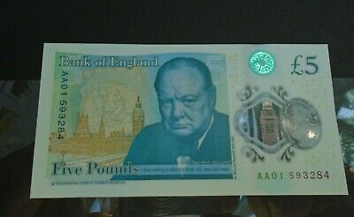 Polymer Five Pound EF - UNC Note AA01  LOW NUMBER FIRST RUN • 29.99£