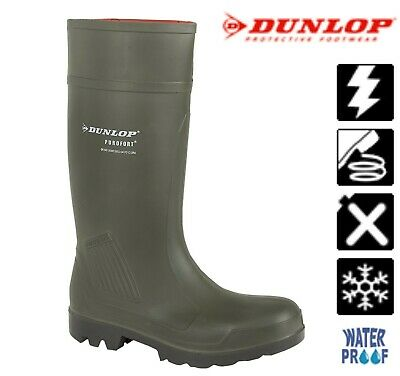 SALE DUNLOP Antistatic Light Warm Non Clog Sole WELLIES Green Welly Boots Size 5 • 49.95£