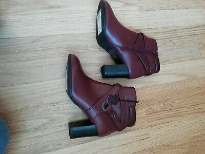 M&S Collection Wide Fit Burgundy Leather Heeled Ankle Boots Size UK 4, New  • 12.50£