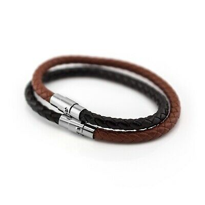 Leather Braided Wristband Bracelet With Magnetic Stainless Steel Clasp • 2.79£