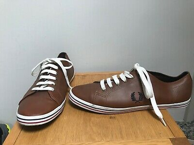 FRED PERRY Mens Brown Leather Low Top Trainers @ Size UK 11 EU 46 US 12 Shoes • 24.95£