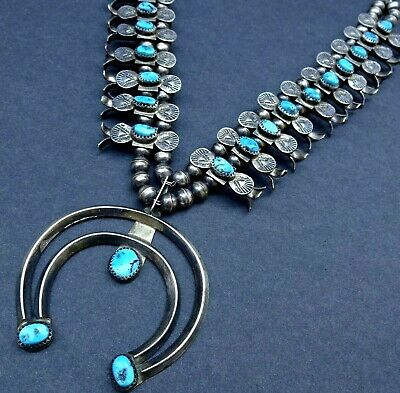 $ CDN1354.88 • Buy LOVELY Vintage NAVAJO Sterling Silver Turquoise BOX BOW SQUASH BLOSSOM Necklace