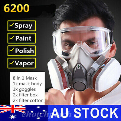 AU25.56 • Buy 6200 Safety Half Face Gas Mask Protective Respirator+cartridges+filters+goggles